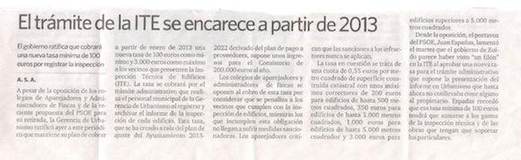 La tasas de la ITE subirán en Sevilla. Tasa mínima 100 €, máxima 3.000 €